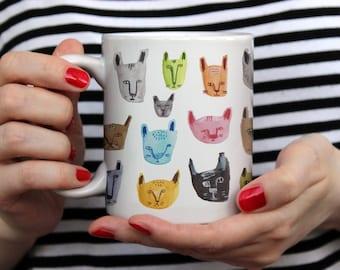 Cats Pattern Mug, Colorful Mug, Water Color Illustration, Coffee Mug, Tea Mug, Gift For Her, Gift For Him