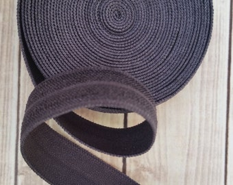 5/8 CHARCOAL Fold Over Elastic 5 or 10 YARDS