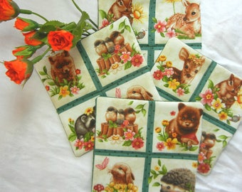 Quilted Cotton Fabric Coaster - Spring Babies Set #1