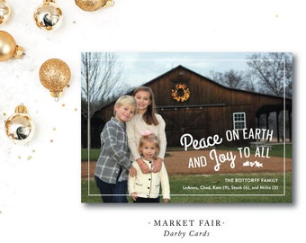 Market Fair Printed Holiday Cards | Peace, Love and Joy | Southern Christmas Card | Printed or Printable by DarbyCards