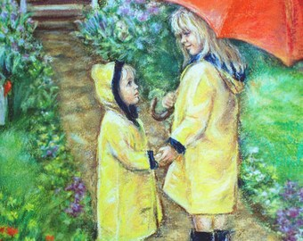 """Brother sister yellow Raincoats, Red umbrella, Nursery Wall art, siblings,  Canvas and paper prints Laurie Shanholtzer """"Time To Come Home"""""""