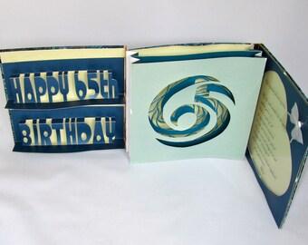 HAPPY 65th Birthday Pop Up Accordion Book-Card Original Handmade in Blue, Light Green, Beige, Gold, w/Hard Cover Binding CUSTOM ORDER OOaK