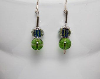 Lime and blue earrings-A271