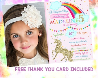 Unicorn photo invitation Unicorn birthday invitation Unicorn invitations Magical unicorn birthday party invitation Rainbow unicorn invites
