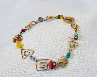 Handcrafted Paperclip Mixed Design Spiral Bracelet
