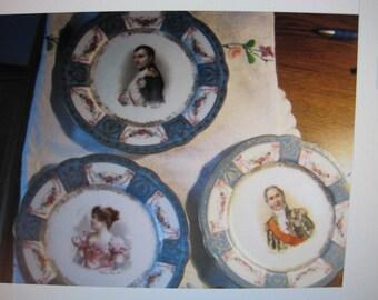 antique austrian plates ...lot of 3....napolean..