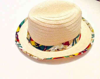 Fedora hat with African print detail