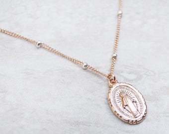 Rose Gold Miraculous Medal necklace with Ruby gemstones, Blessed Mother, Catholic Jewelry, Maid of Honor gift, Confirmation Gift