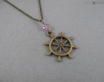Ship's Wheel Nautical Themed Necklace - Bronze - Pirates of the Caribbean - Jack Sparrow - Captain Hook - Once Upon a Time - Killian Jones