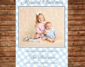 Christmas Holiday Photo Card Merriest Christmas Watercolor Blue Gingham  - Can Personalize - Printable File or Printed Cards