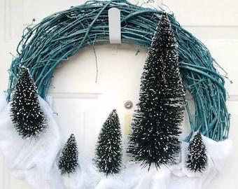 Winter Tree Wreath - Winter Wreath - Holiday Wreath - Blue Winter Wreath - Unique Wreath - One of a Kind - Christmas Wreath