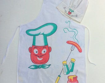 Vintage BBQ Bib Apron & Hat Mustachioed Chef Roasts a Weenie Man's Apron Retro Barbecue