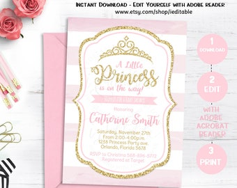 Pink and Gold Princess Baby Shower Invitation, Chevron Invitation, Girl Baby Shower, Gold Glitter invitation, Editable, Instant download