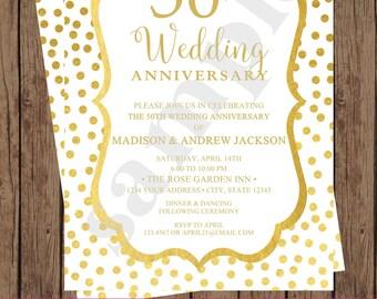 50th wedding invite etsy custom printed 50th wedding anniversary invitation golden anniversary printed anniversary invitation 100 each stopboris Images