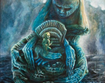 "Macabre art Creepy surreal print 17.7x12"" Horror Beksinski Dark art Surrealism Visionary art"