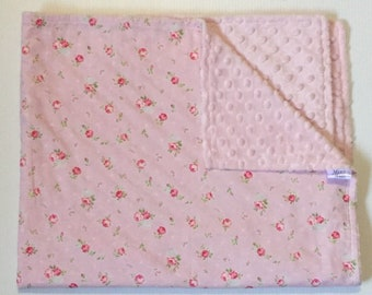 Pram/Bassinet Blanket - Baby Pink Floral with Soft Minky Blanket