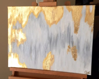 Gold Leaf Painting, Silver, White and Gold Abstract Painting with High Gloss Resin 18x24 - Custom Order