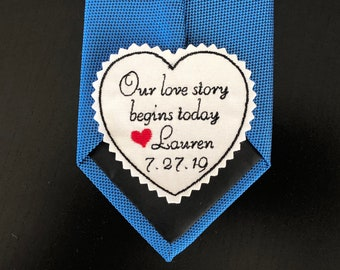 Wedding Tie Patch Groom, Personalized Heart Patch,  Suit Patch, Husband, Custom Embroidered Tie Patch, Our Love Story Begins, iron-on option