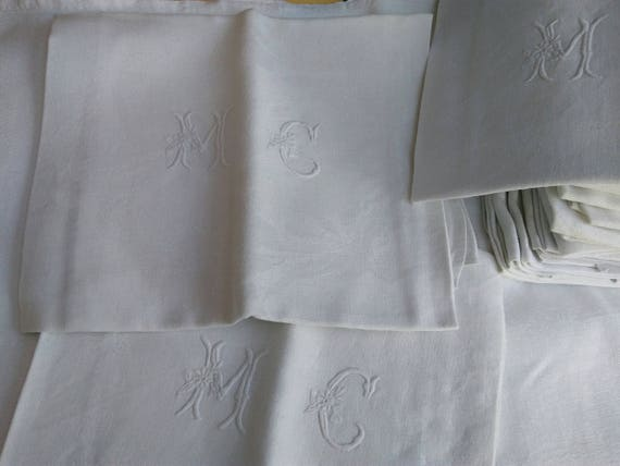 "Antique French Damask Napkins Set of 6 White Linen ""MC"" Monogram #SophieLadyDeParis"