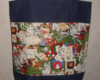 New Handmade Large Christmas Holiday Kitty Cats Cat Denim Tote Bag