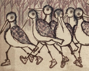 Tennesse Walkers Greeting Card, a reproduction of bird art by Barbara Ferneckes Hughes