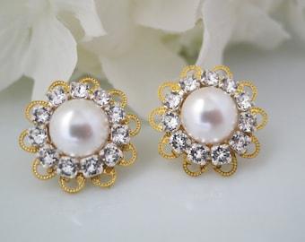 Pearl earrings, Simple bridal earring, Swarovski crystal and pearl earring, Gold vintage style earring, Bridesmaid earring
