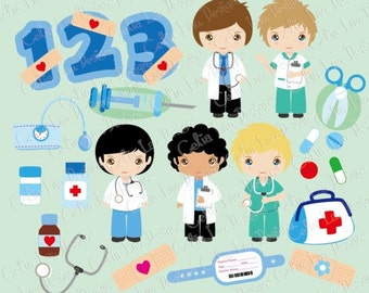 Cute Boys Nurse and Doctor clipart, Career clipart , Doctor Kids , Nurse Kids, Birthday numbers / Numeral clipart / INSTANT DOWNLOAD (CG144)