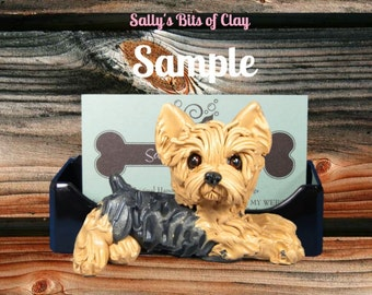 Yorkie Yorkshire Terrier dog Tan with Black (mouth closed) Business Card Holder / mobile phone / Post it Note sculpture Sally's Bits of Clay