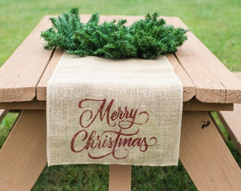 Merry Christmas Burlap Table Runner, Table Runner, Holiday Table Runner, Christmas Table Runner *Free Shipping*