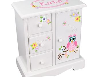 Personalized Owl Jewelry Box White Tall Girls Jewelry Box with