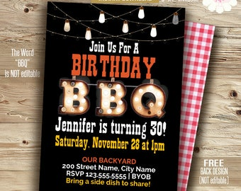 BBQ invitation, Printable Birthday bbq template, Instant download Self Editable PDF A615