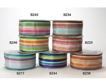 "May Arts 5 yards 1.5"" Veriegated Stripe Ribbon BZ"