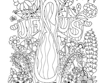 Effie's Cross, 1 Adult Coloring Book Page, Printable Instant Download, Christian, Jesus