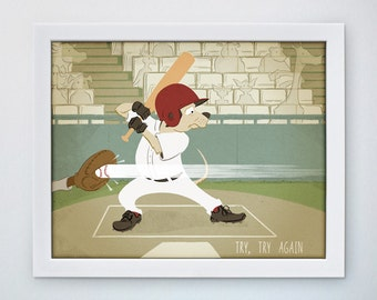 kids inspiration art, Baseball Dog, retro art, kids baseball art, motivation poster, retro nursery, CUSTOMIZABLE, 5x7, 8x10, 11x14