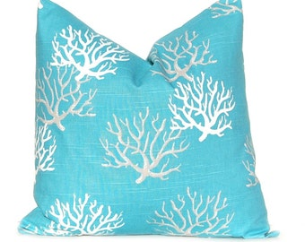 Pillow Cover - Beach Home Decor - Turquoise and White - Sea Coral Design - Living Room Ideas - Redecorate