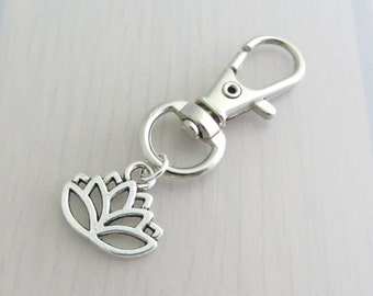 Lotus Bag Charm, Flower Purse Clip, Silver Lotus Flower Handbag Charm, Flower Charm Zipper Pull, Gardeners Gift, Nature Plant Gift