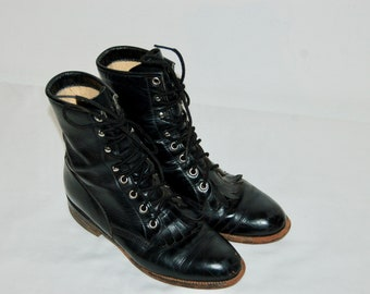 Women Size 6 Vintage Justin Western Black Lace Up Boots