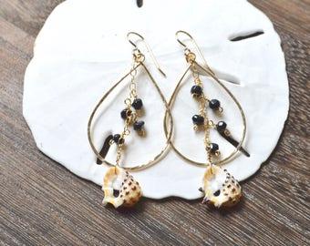 Onyx Earrings, Gold Teardrop Earrings, Dangling Shell Earrings, Teardrop Chain Earrings