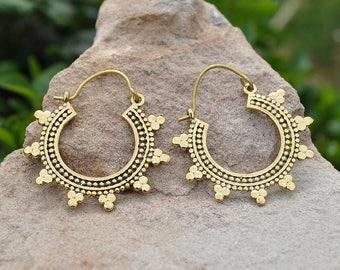 Mandala hoop earrings, Sterling Silver plated brass, Golden brass, Bohemian gypsy style, alternative jewelry, Tribal hoops, Festival cute