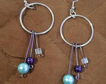 Dangle hoop earrings with hanging beads