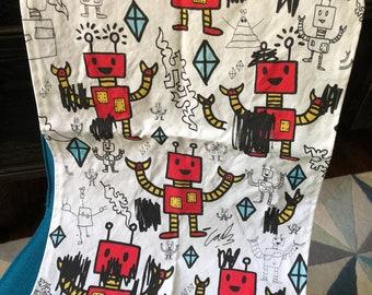 Pop Art Robot Tea Towel