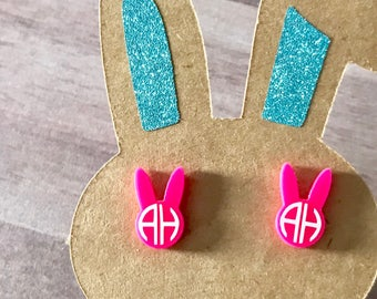 Bunny Earrings, Easter Earrings, Personalized Easter Basket Gift, Easter Basket, Easter Basket Filler, Monogrammed Earrings, Girls Easter Gi