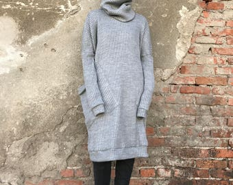 Loose Sweater, Women Sweater Dress, Maxi Sweater, Winter Pullover, Avant Garde Clothing, Casual Dress, Plus Size Dress, Gray Sweater
