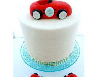 Race Car Cake Topper , Race Car Topper , Racecar Topper , Race car cupcake toppers , vintage car topper , vintage race car