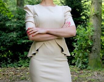 Puff sleeves dress, peplum dress, short sleeves dress, office dress, work dress, casual dress, knee length dress,