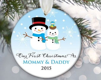 Snowman Our First Christmas as Mommy & Daddy Mom and Dad Parents Ornament Personalized Christmas Ornament Snowman Birth Announcement OR514