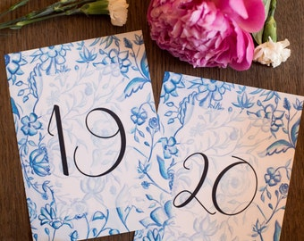 Vintage French Blue Toile Printable Wedding Table Numbers | Digital Download | Instant Download | Watercolor Wedding Table Cards, Set of 20