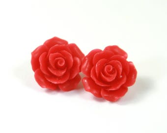 Red flower studs, Red roses studs, Red earrings, Flower earrings, Flower earrings