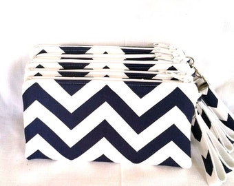 Bridal Party Navy Chevron Wristlet Set of 5 plus Bonus Flower Girl Wristlet