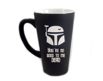 Large Black Personalized Boba Fett Coffee Mug, Star Wars Mug, Star Wars Boba Fett, Custom Coffee Mug, Personalized Mug, Coffee Mug  (CS036A)